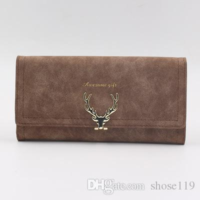Simple pure color new deer head design three fold long lady hand bag multi-functional personality temperament long purse