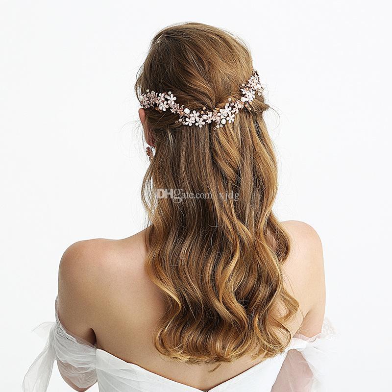اكسسوارات ذات نوعية جيدة وردة نوع ذهب سبائك الزنك الزفاف غطاء الرأس تيارا الزفاف الشعر اليدوية العصابة مجوهرات للعروس اكليل مساء التيجان