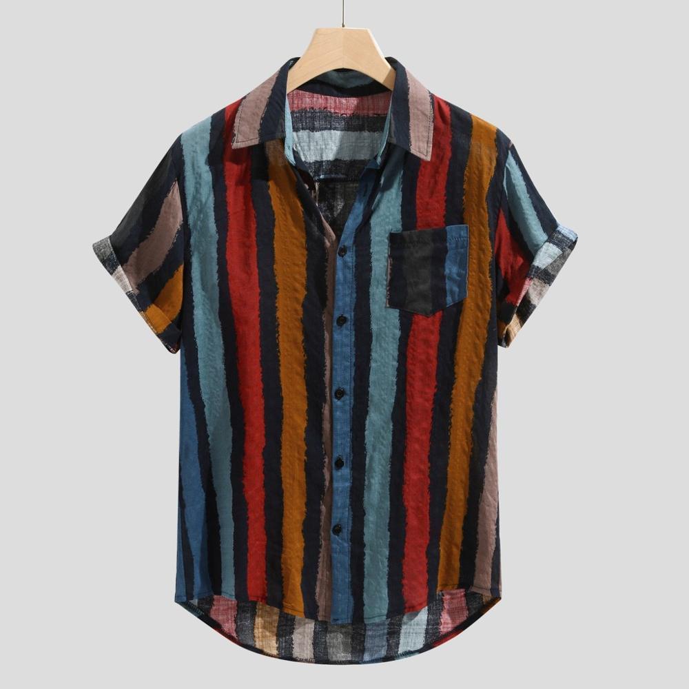 캐주얼 스트라이프 칼라 셔츠 남성면 디자이너 브랜드 슬림 맞는 남자 셔츠 짧은 소매 레드 셔츠 남자 여름 남성 의류