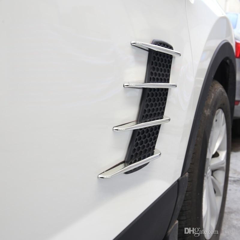 2 Шт. Акула Джиллс Стайлинга Автомобилей Внешняя Сторона 3D Вентиляционный Поток Fender Chrome ABS Наклейка Наклейка Автомобиля Грузовик Наклейки