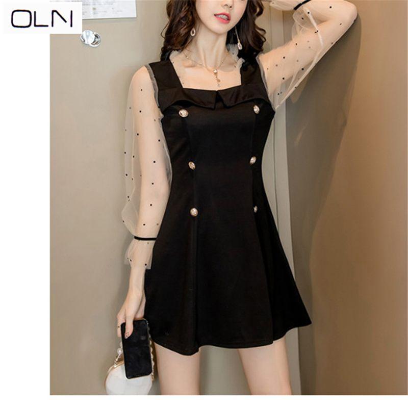 2019 الكورية فستان مثير صغيرة اللباس الأسود البولكا نقطة شبكة خياطة مزدوجة الصدر فستان Y200102
