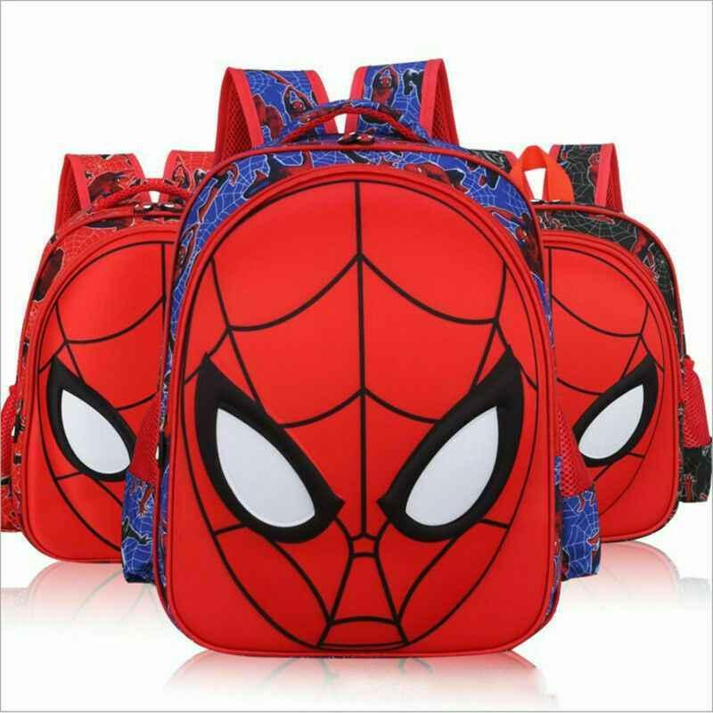 Kids Boys Marvel Spiderman Backpack 3D Travel School Rucksack Lunch Bags 3 Size