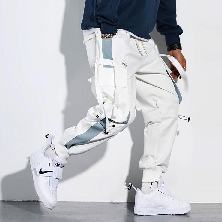 Pantalons Hip Hop Hommes 2020 Jogger Harajuku Collage pantalon cargo poche couleur de mode polyvalent pantalon blanc bouffant M-3XL