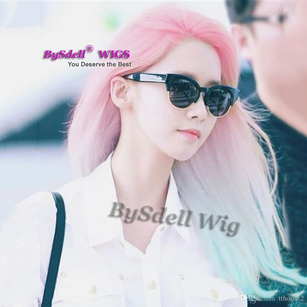 shoulder length synthetic peach Pink ombre ice blue Color Hair Mermaid Cosplay Party Wigs ins style fashion Unicorn lace front Wig