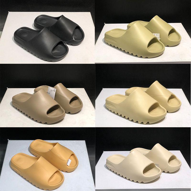 Kanye West Slipper Foam Runner Sandal Triple Black White Bone Resin Desert Sand Men Women Fashion Slides Sandals Shoes US 5-11