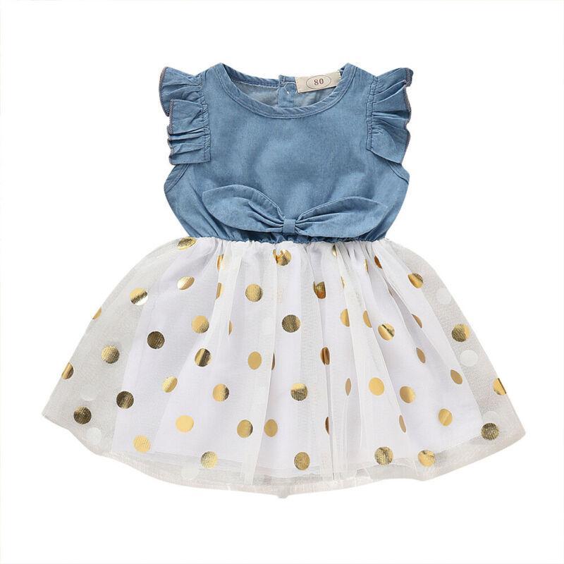 어린이 아기 소녀 드레스 유아 귀여운 공주 꽃 여름 민소매 패치 워크 라운드 넥 레이스 얇은 명주 그물 도트 드레스 의류