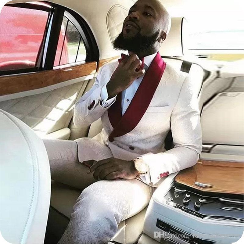 Padrão Vestido Custom Made Branco Borgonha floral vermelho Homens Ternos Stage smoking ternos de casamento para o homem Blazer Noivo Prom Jacket Pants +