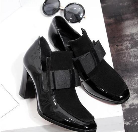 Sıcak Satış-Yeni 100% Kırmızı Alt taban yüksek topuklu pompalar kare ayak hakiki deri ayakkabı kadınlar bayanlar siyah Seksi chaussure femme @ 888