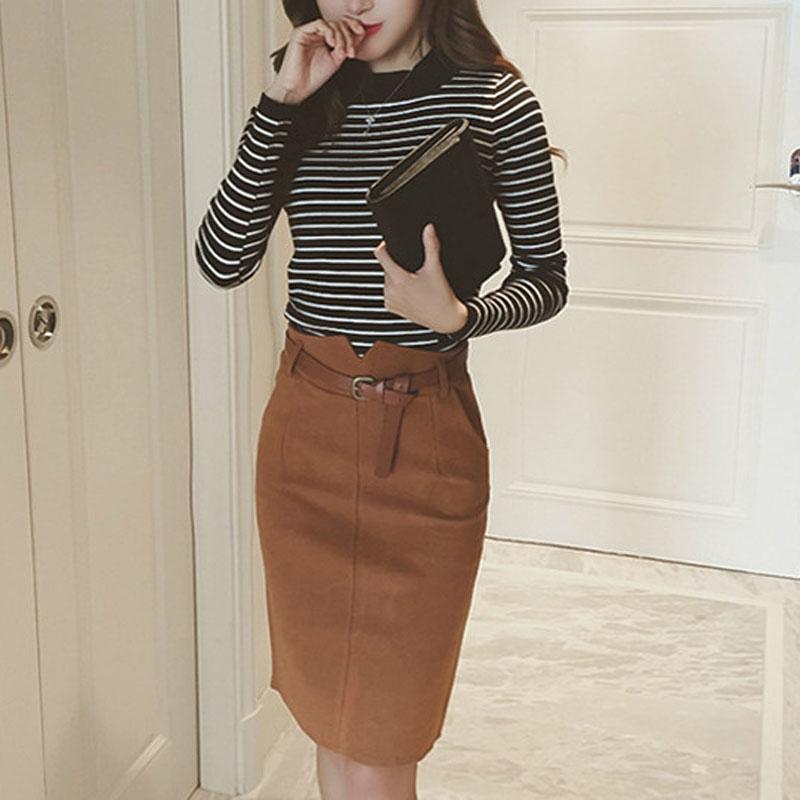 Gonne a matita per le donne della primavera autunno Gonne per le signore solide spaccate di moda indietro Gonne vintage elegante femminile con cintura
