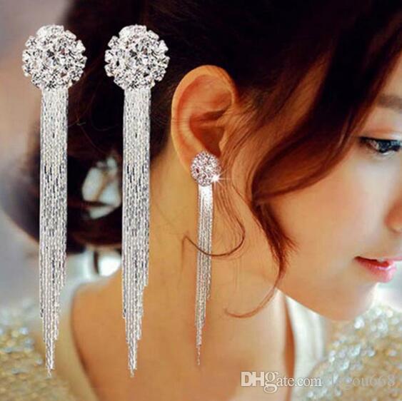 Bijoux personnalité Tempérament cristal Tassel Boucles d'oreilles de mariée Boucles d'oreilles Oorbellen pour les femmes Boucles d'oreilles longues GA740