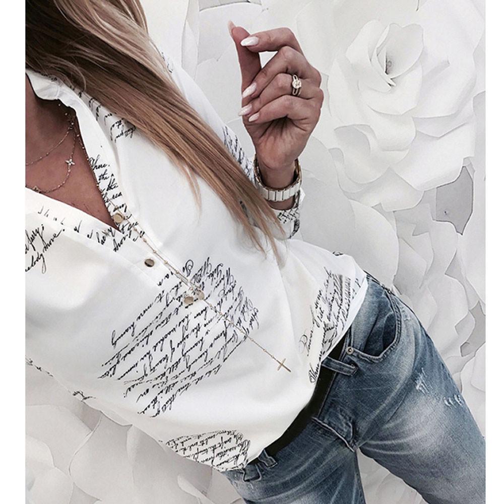 Lettere pulsanti stampati con scollo a V Sexy Camicie autunno Signora di modo delle donne Camicetta bianca a manica lunga primavera Blusas Plus Size # H15