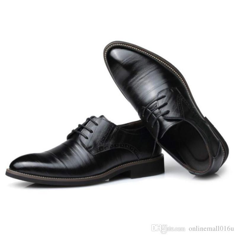 Großhandel Abendschuhe Herren Halbschuhe Britisch Schwarz Blau Handgemachtes Bequemes Formelles Kleid Herren Wohnungen Schnürer Bullock Business