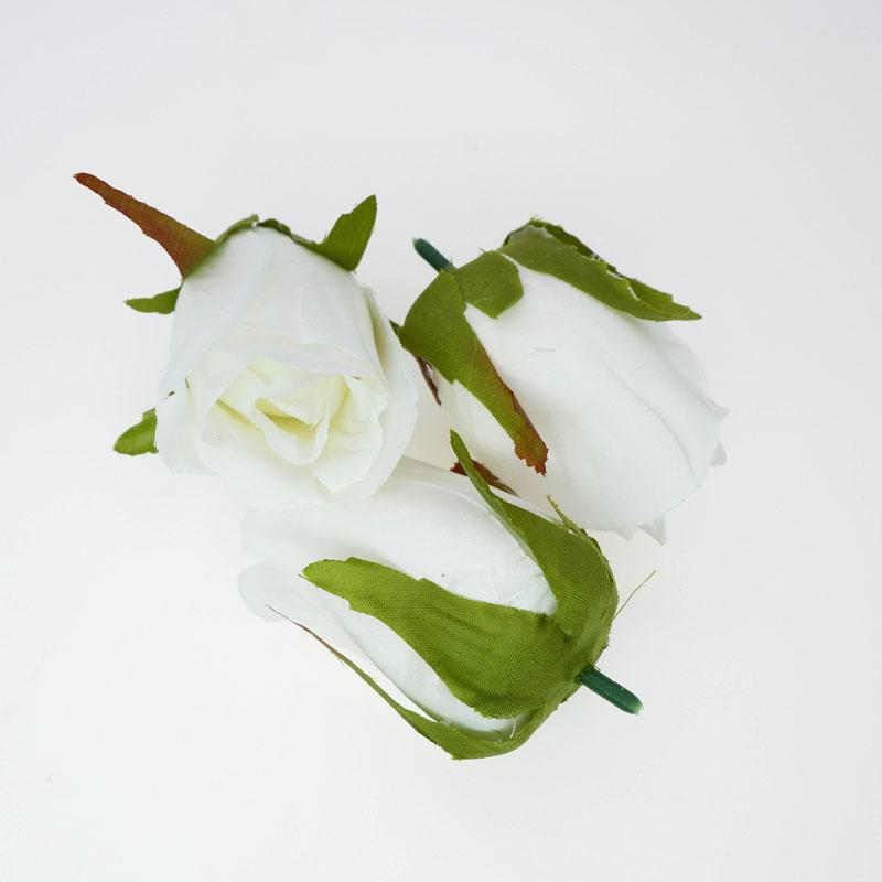20pcs Ivory Artificial Roses Buds Silk Rose Heads Artificial Flowers Heads Fake Roses Bridal Wedding Bouquet 7x4cm
