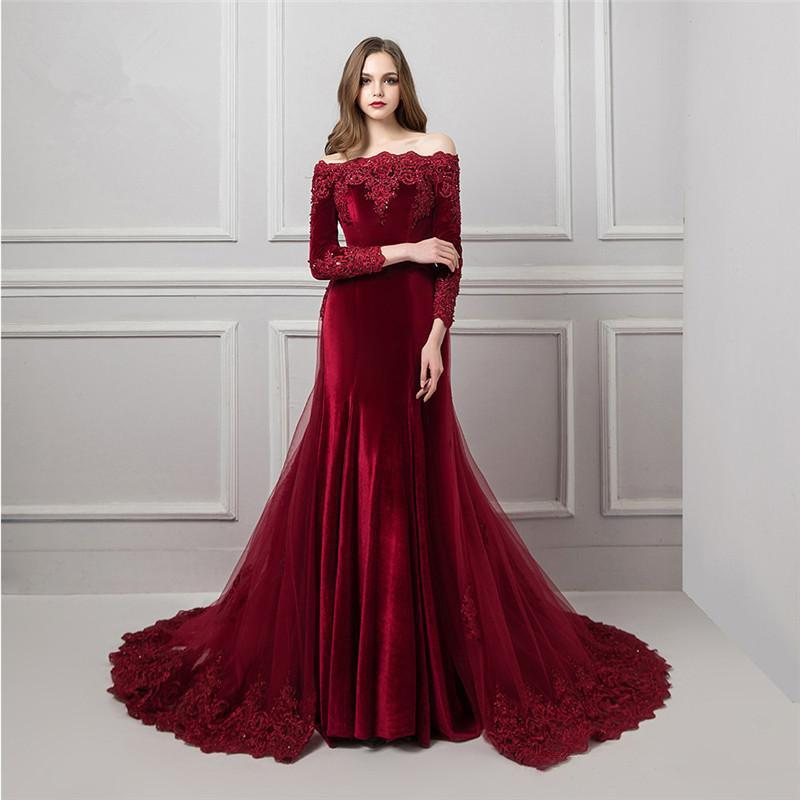 2020 Velvet Mermaid Evening Dresses Appliqued Lace Beaded Evening Gowns Dubai Sexy Off The Shoulder Long Sleeves Prom Dress