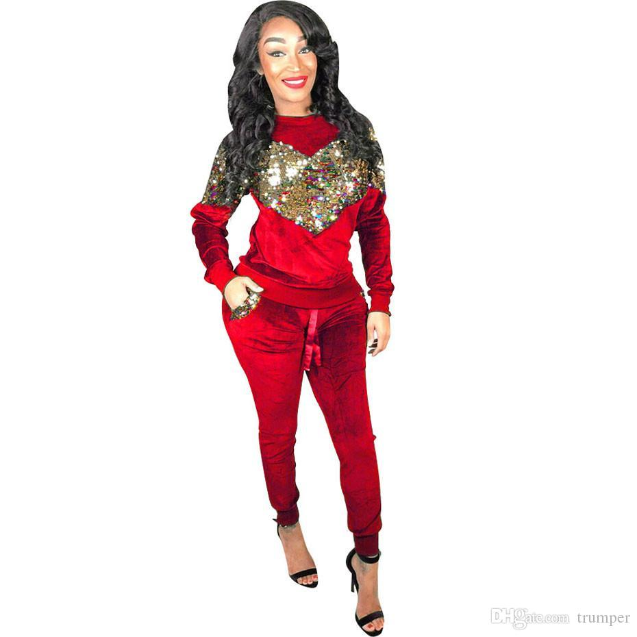 Autumn Winter Women Two Piece Set Velvet Sequin Tops and Pant Suit Casual Outfits 2 Piece Matching Sets Velour Tracksuit r-5