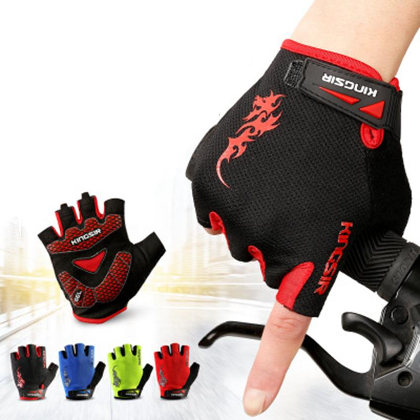 Outdoor Sport Gloves Summer Cycling Bike Bicycle Riding Gym Fitness Half Finger Gloves Shockproof Mittens ZZA808