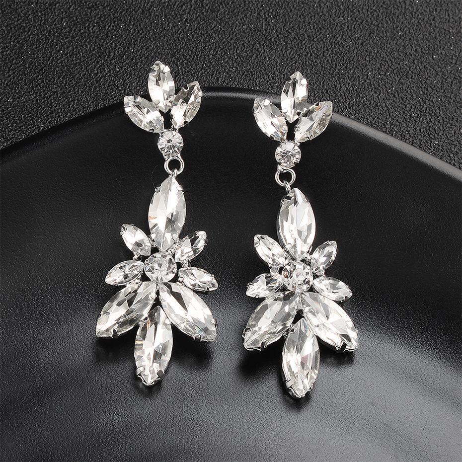 Tie Style Crystal Drop Earrings Silver/&Clear