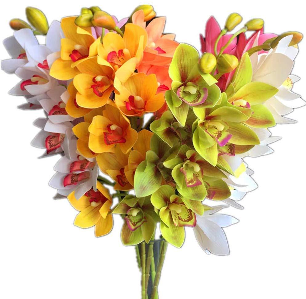 Поддельный Real сенсорный Cymbidium Орхидеи 10 голов Моделирование 3D печать хорошее качество Latex цветок орхидеи для декоративного искусственного цветка