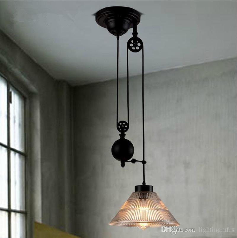 Free shipping New modern loft Vintage Edison Industrial Pulley Pendant Lights W/Adjustable Wire Lamps for dinning room kitchen coffee bar