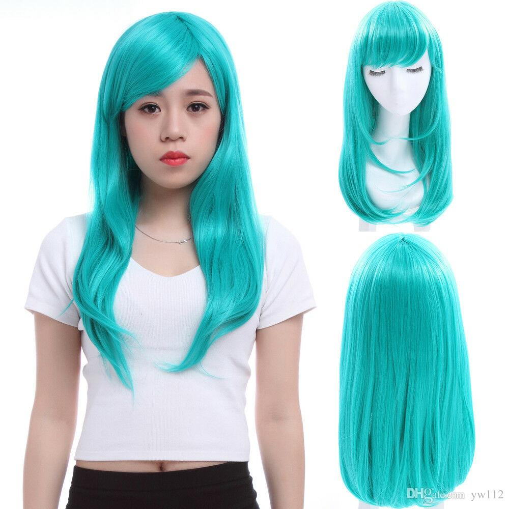 Moda Kadın Yeşil Peruk 65 cm Uzun Düz Patlama Saç Tam Peruk Parti Cosplay