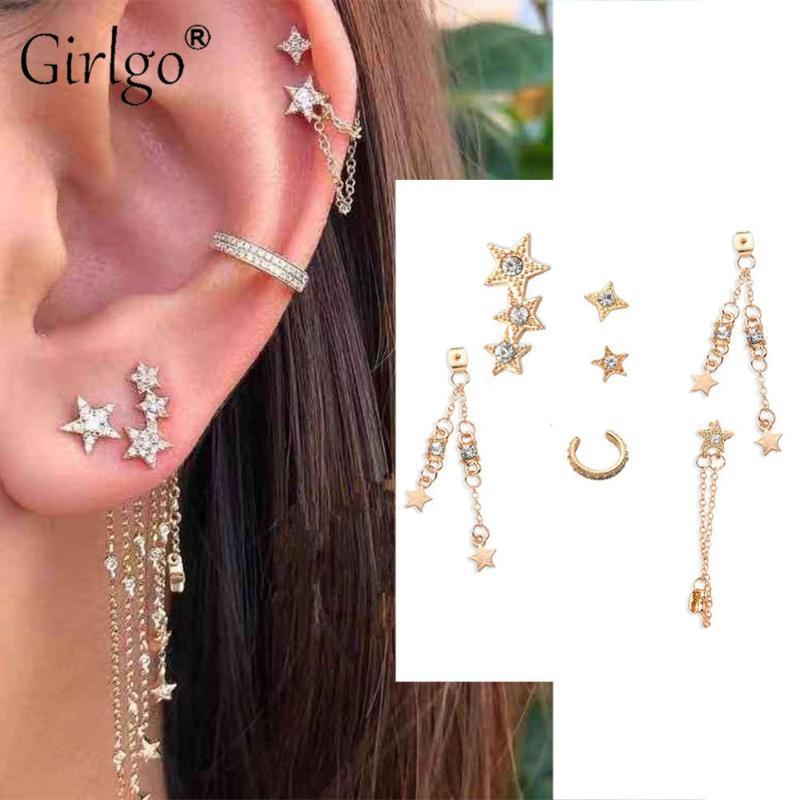 Girlgo Raffreddare Gifts Hiphop orecchini per le donne Stella Luna Small Circle Oro Argento di colore di cristallo di modo degli orecchini monili del partito