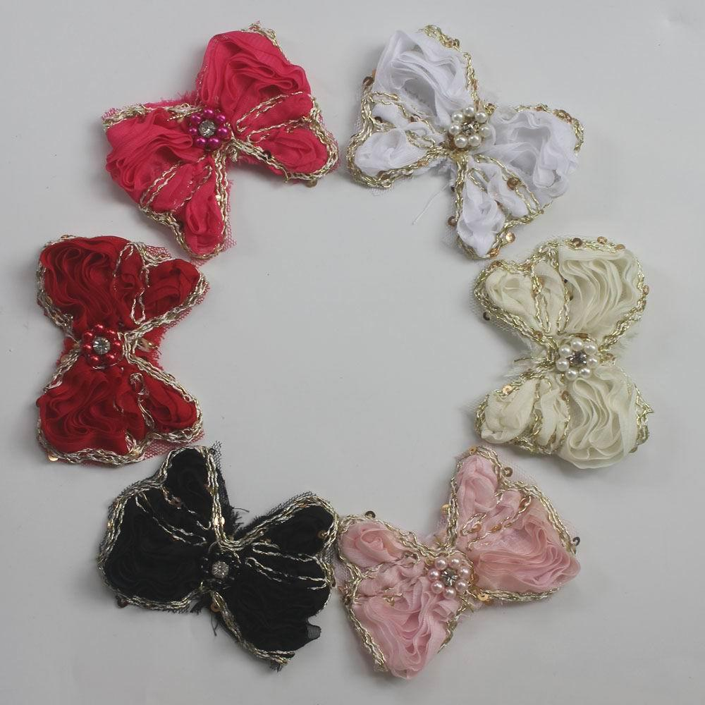 100pcs 9cm Chiffon Fabric Hair Bows for Girls Hair Flower Accessories,Chiffon Bow Flower for Girls Hair Clips