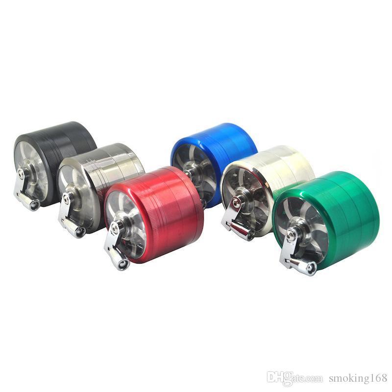 gros 40mm / 50mm / 55mm / 63mm 4layer manivelle poignée CNC Accessoires pour fumeurs Moulin à herbe sèche pour meuleuses moulin à herbe manivelle de tabac