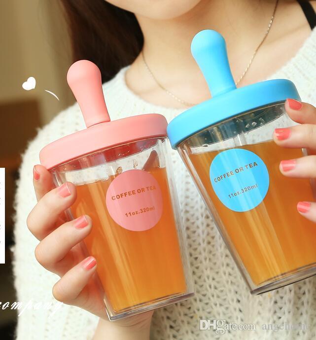 Bicchieri da viaggio isolati carino con coperchi e cannucce 520 ML 320 ML - Bicchieri di plastica trasparente a doppia parete Bottiglia di acqua Tazza Tazza Tazza per donne Ragazze