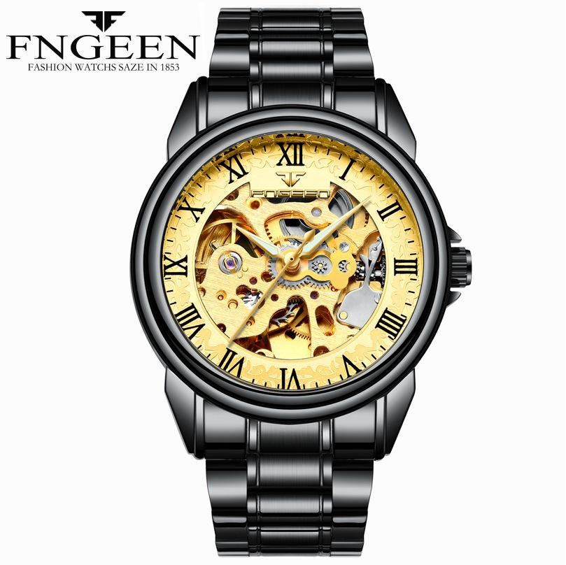 Fenzun Relógio Mecânico oco Student suíço Mens Black Watch Waterproof Sports Luminous ponto ultra-fino modelos Hot Selling