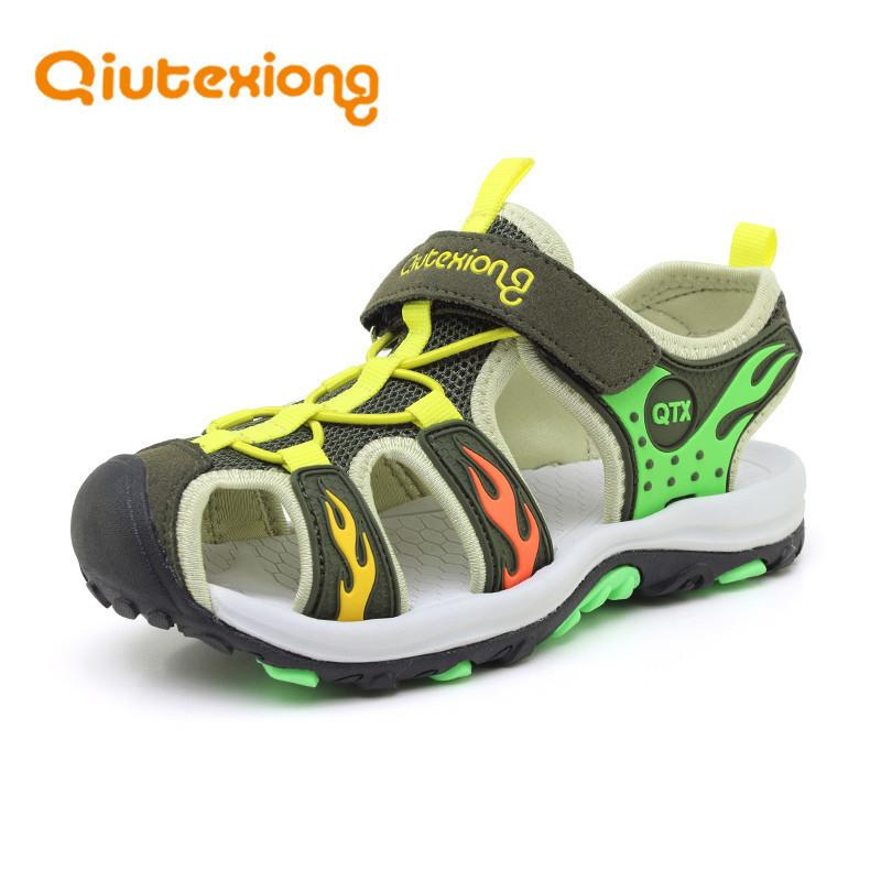 Insole Length 17-24 CM 8-14 Years Kids Closed Toe Breathable Mesh Children Boys Leather Beach Sandals Summer Shoes Mix 6 Pairs Wholesale