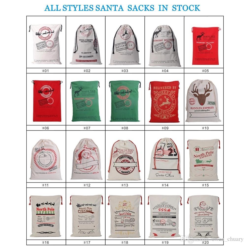 2020 regali di Capodanno Sacchi di Babbo Natale personalizzati Grande borsa di Babbo Natale Sacchetti regalo di tela di Natale personalizzati Coulisse in cotone Santa Luvy per bambini