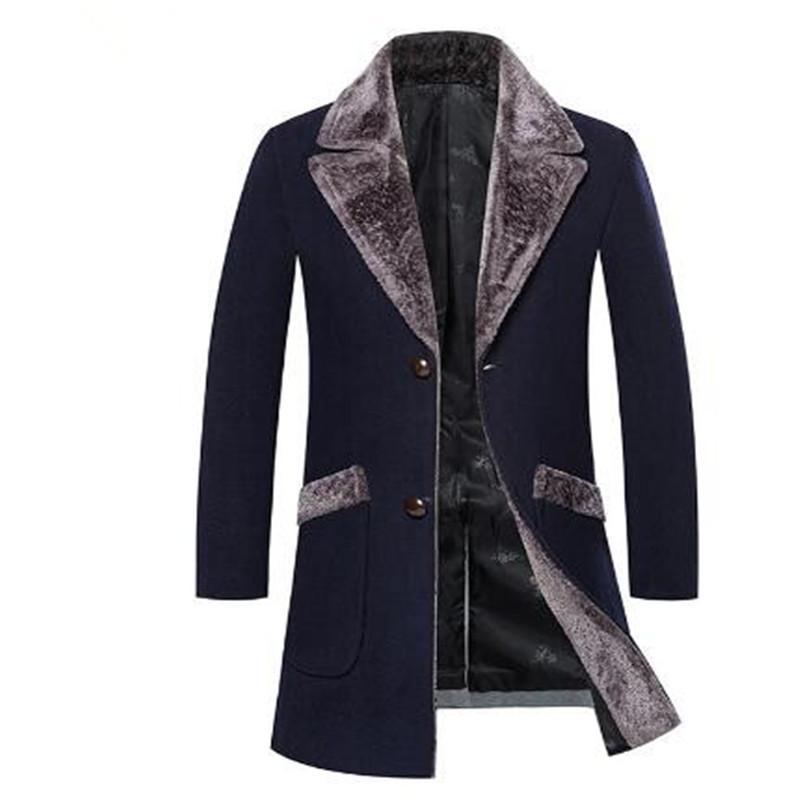 2018 새로운 겨울 모피 칼라 긴 Peacoat을 남성 슬림핏 캐주얼 두꺼운 외투 남성 따뜻한 윈드 트렌치 코트 재킷