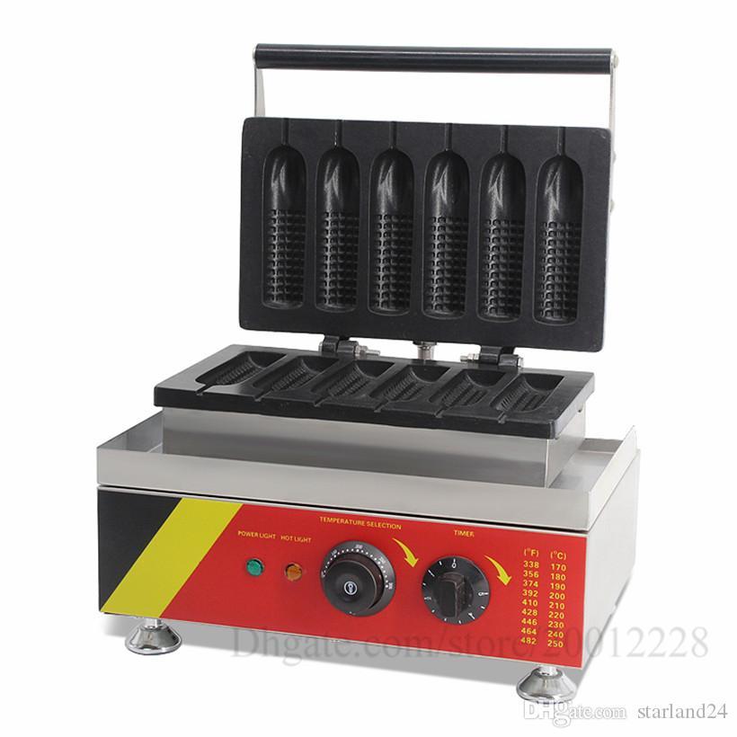 6 Kalıpları Mısır şeklindeki Hot Dog Waffle makinesi Lolly Hotdog Waffle Yapma Makinesi Yapışmaz Elektrikli 220 V 110 V 1.5KW