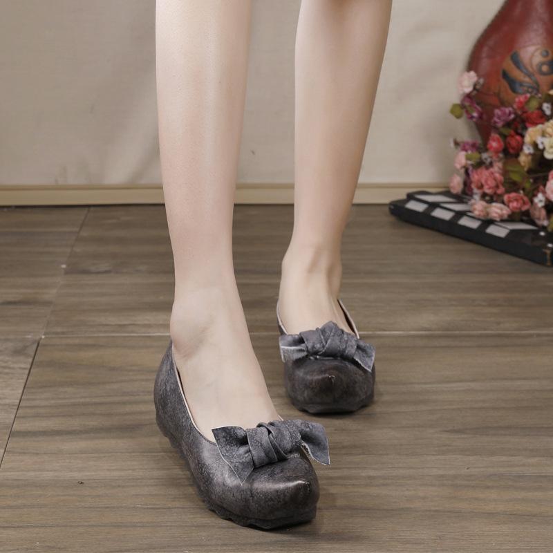 Johnature Flats Kadın Ayakkabı Gerçek Deri 2020 Yeni Bahar El yapımı Kayma-on Kelebek-düğüm Yuvarlak Burun Sığ Bayan Ayakkabı