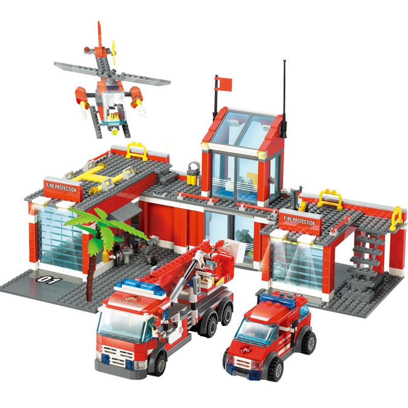 774Pcs City Fire Station Building Blocks Sets Fire Engine Fighter Technic Truck Car Bricks Playmobil LegoINGLs Toys for Children