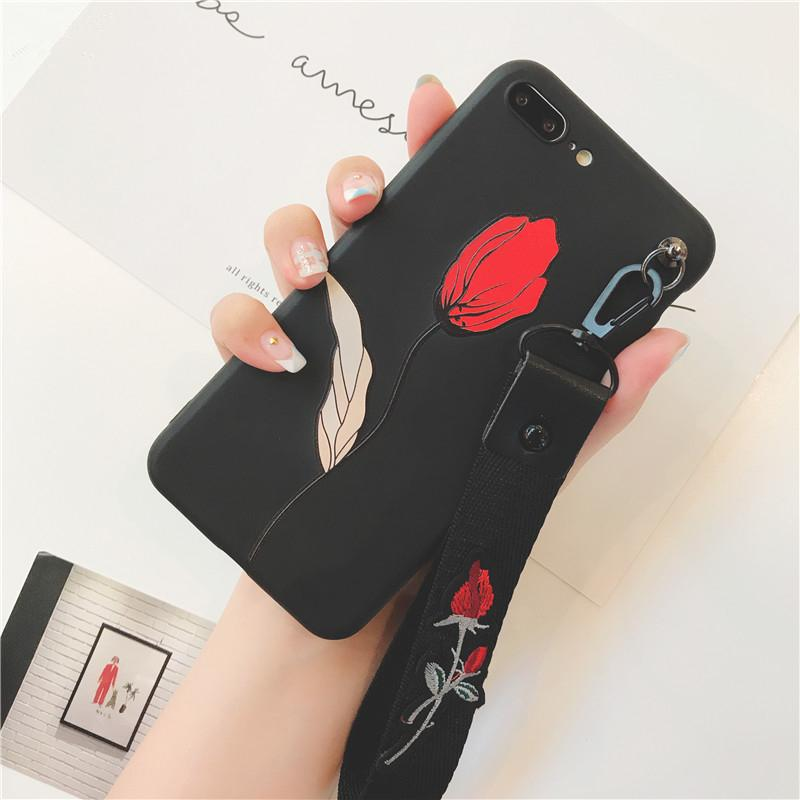 Rose Embroidery Wrist Strap Phone Cases For Iphone X Xr Xs Xs Max Flower Relief Silicon Case For Iphone 6 6s 7 8 Plus