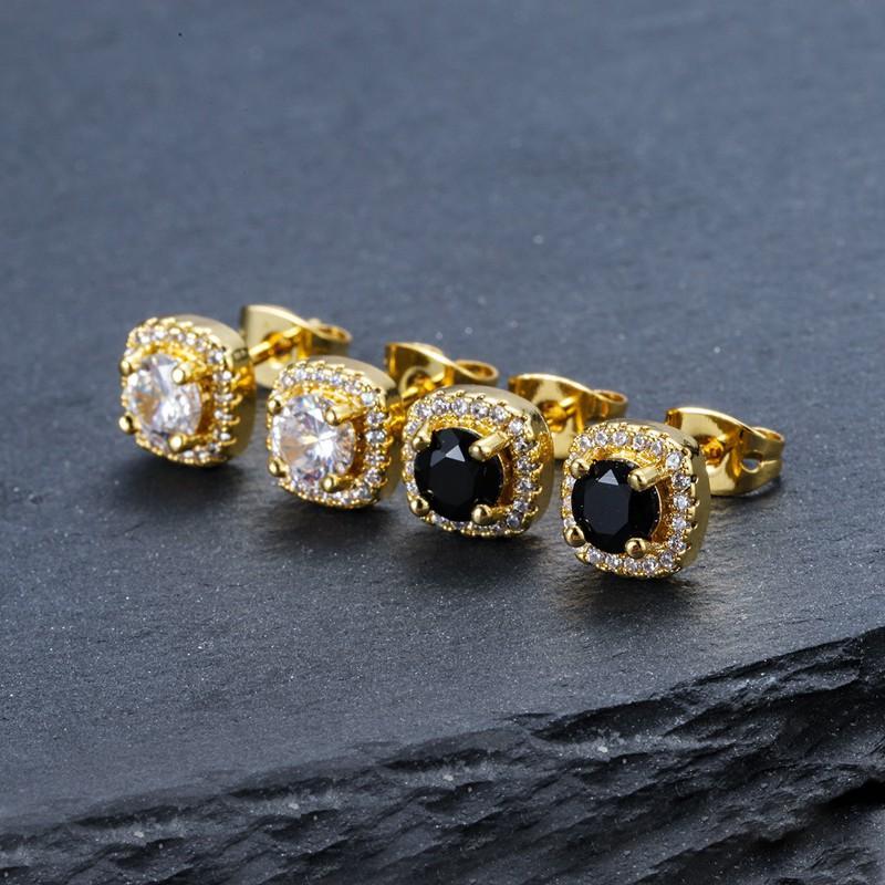 남성 힙합 스터드 귀걸이 쥬얼리 고품질 패션 라운드 골드 실버 블랙 다이아몬드 귀걸이 남성용