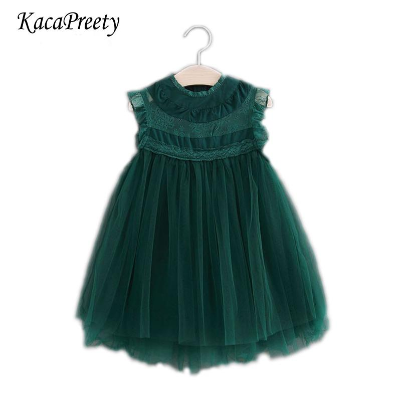 2018 Princess Party Lace Tulle Dress Vintage Toddler Kids New Year Children Clothing 2-7y Xmas Baby Girls Vest Dresses J190611