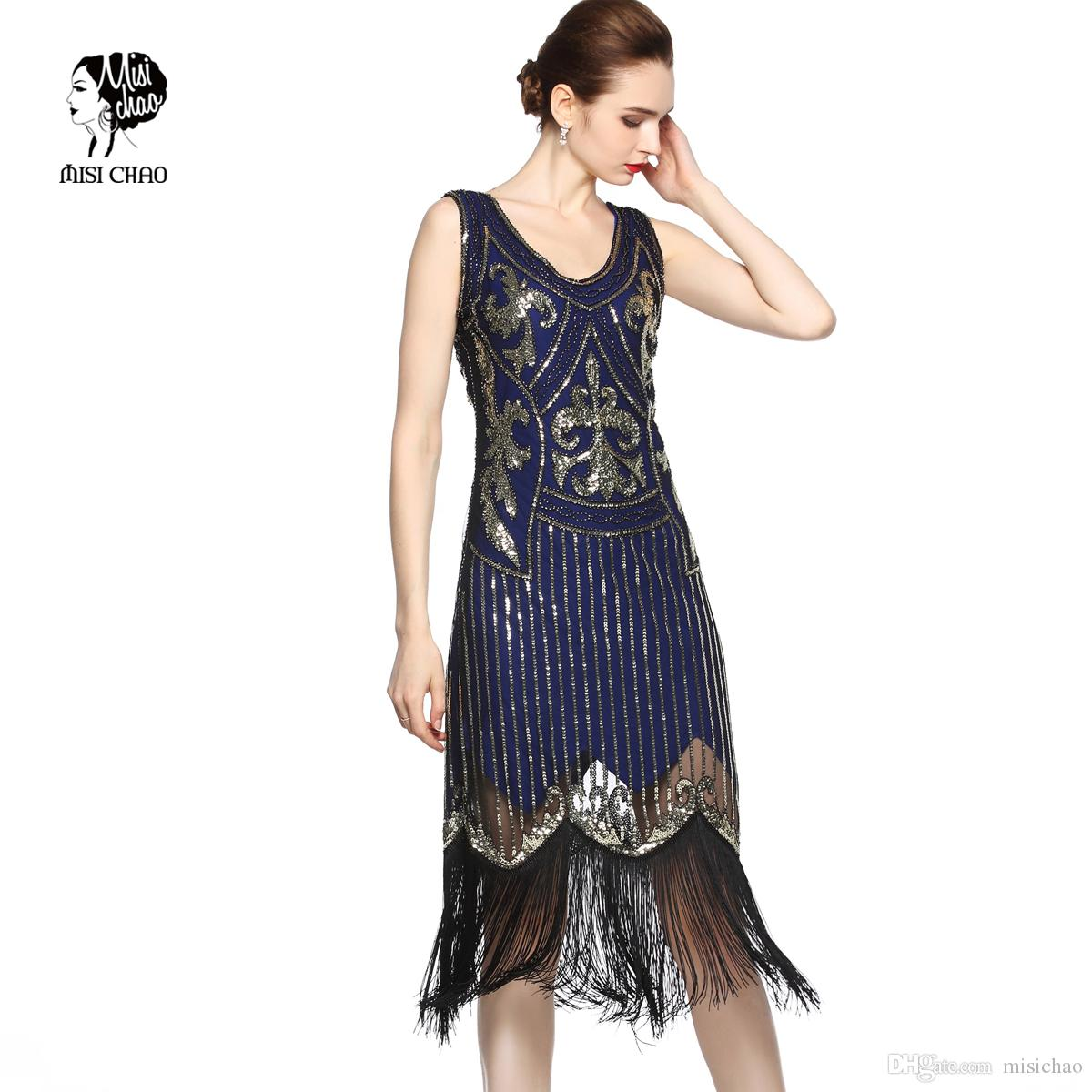Fashion Sequins Tassel Dress Deep V Neck Party Dresses 1920s Flapper Gatsby  Vintage Evening Costume For Women Plus Size Holiday Party Dresses Short ...