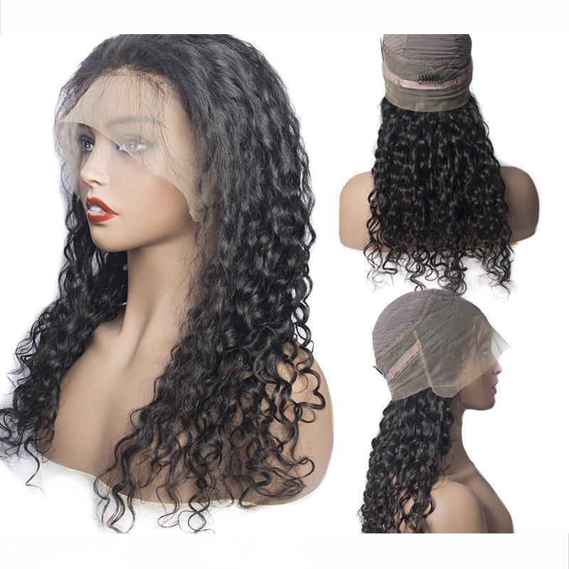 Maxine Yeni Su Dalgası 360 Dantel Frontal Peruk Brezilyalı Remy İnsan Saç Peruk% 150 Yoğunluk Öncesi Mızraplı Peruk İçin Siyah Kadınlar