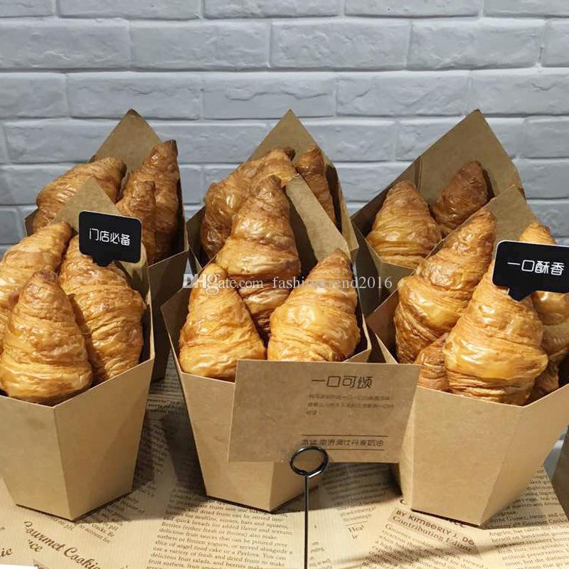 Fries Croissant Pane Kraft vassoio carta torta francesi monouso Take Out Box con sacchetti di plastica Snack Dessert Scatole per imballaggio