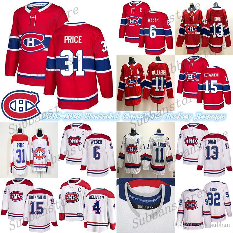 Montréal Canadiens Jersey 6 Shea Weber 31 Carey Prix 11 Brendan Gallagher 13 Max Domi Ice Hockey Jerseys