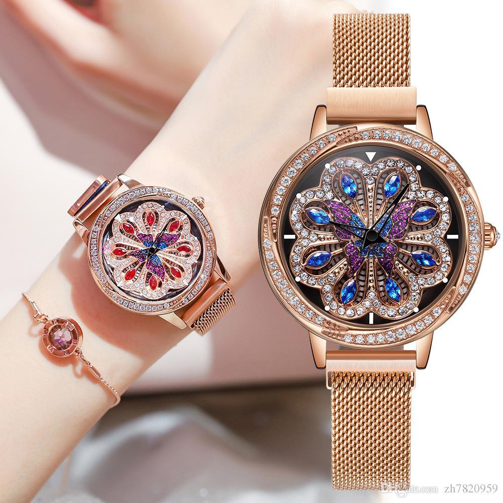 Japan NAKZEN Geschäft Luxus-Netz glühender Verkauf importiert kommt angerannt japanische Quarzwerk Diamant wasserdichte Magnetschnalle Damenuhr