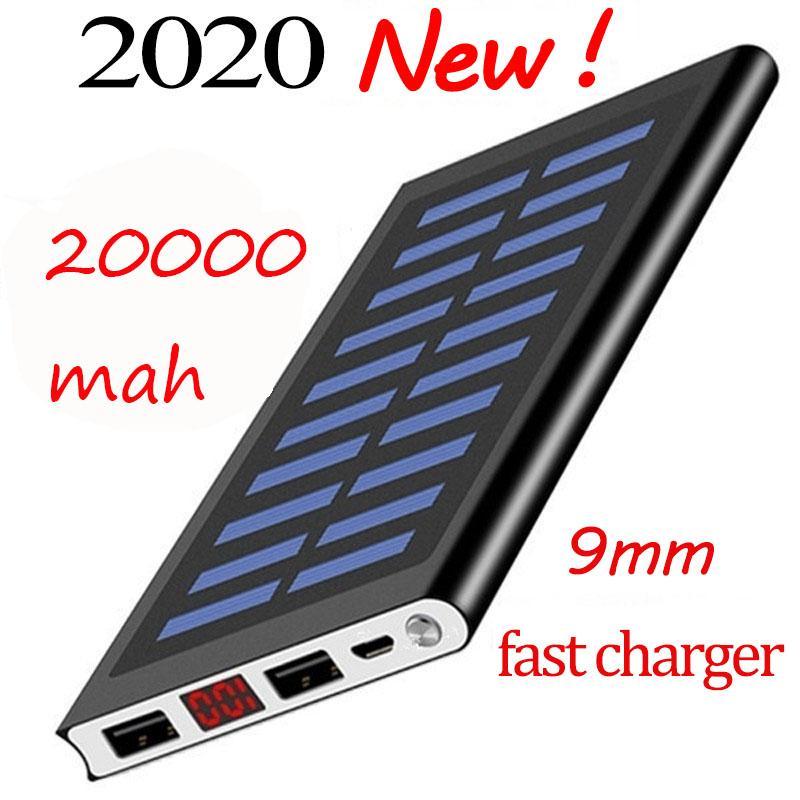 LCD 스크린 캠핑 손전등 울트라 얇은 전원 은행을 가진 20000mAh 휴대용 태양 전원 은행 배터리 충전기