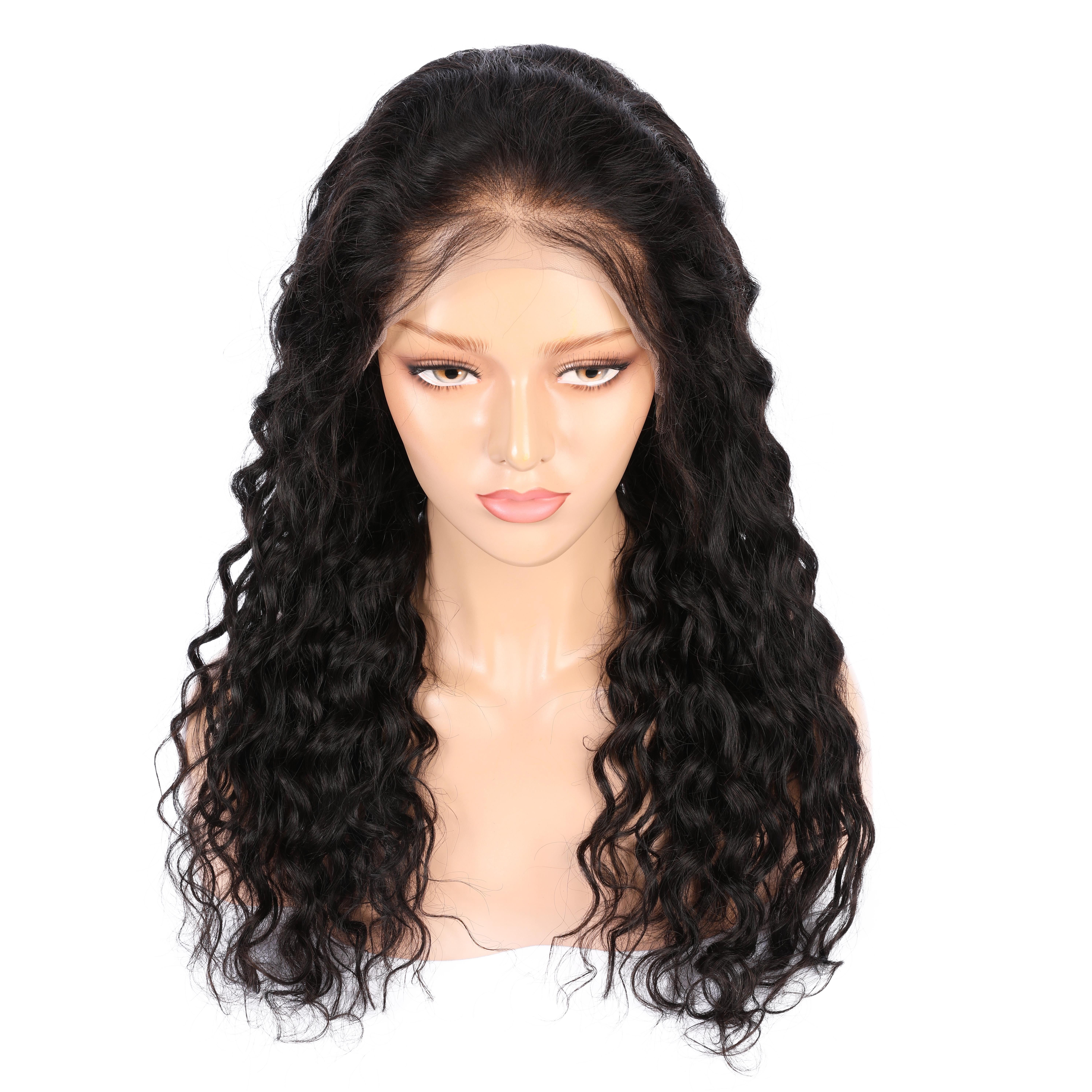 AiS Human Hair Wigs For Black Women Full Lace Wig & 13*4 Front Lace Wig Water Wave Natural 1B Color Brazilian Remy Hair Wigs With Baby hair