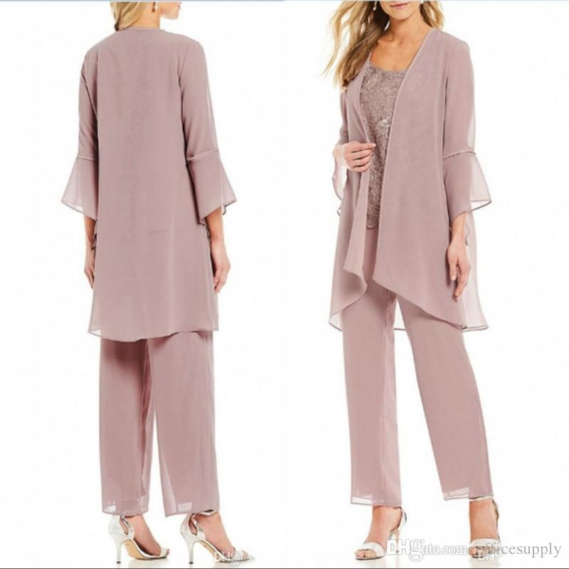 Rose Pink Formal Women Pants Suits Mother of The Bride With Jacket Office Business Lady For Wedding Party Bridal Evening Wear