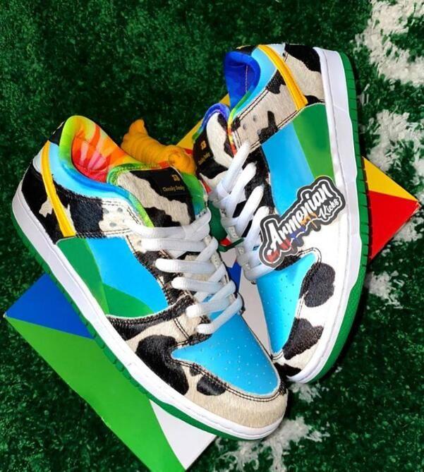 "2020 Ben & Jerry's x Nike SB Dunk Low ""Chunky Dunky"" Blanc / Lagoon Pulse-Black-Universit Chaussures de course Designer Sport Skate avec la boîte Taille 36-45"