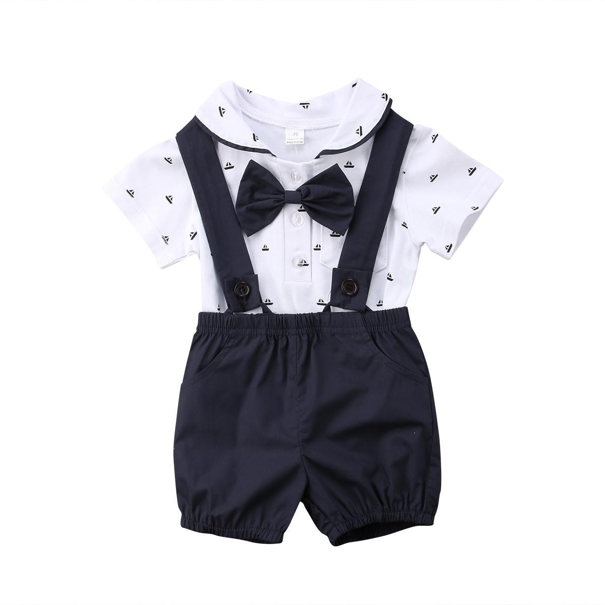 2PCS Newborn Neonato infantile vestiti Set Body Tops Tuta cotone estate pantaloni Gentleman coprono insieme neonati 0-24M