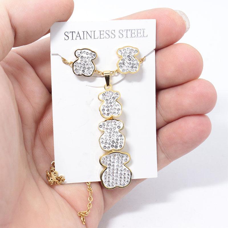 الأزياء شل قلادة الدب الذهبي الفضة الفولاذ المقاوم للصدأ قلادة أقراط النساء بنات طقم مجوهرات