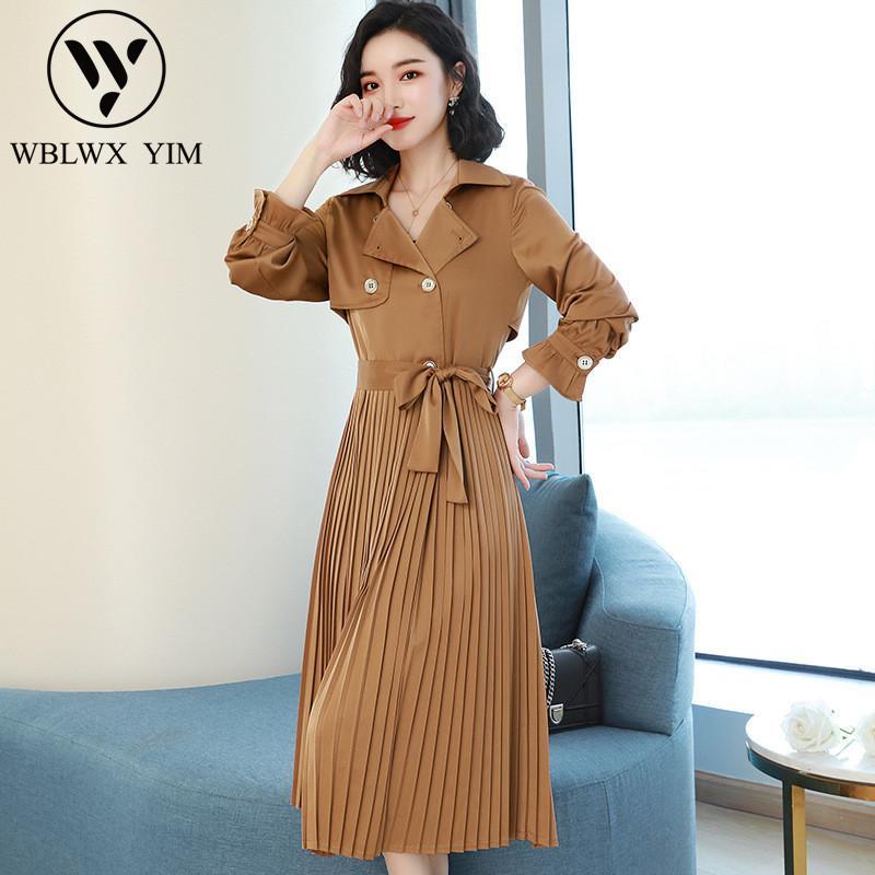 Модные сращивания плиссированные длинный плащ женские Элегантный офис с длинным рукавом траншеи дамы корейский высокое качество бизнес верхняя одежда